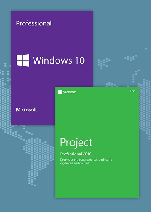 Windows10 PRO OEM + Project Professional 2016 CD Keys Pack