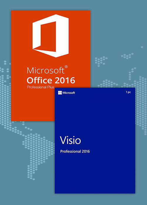 Office2016 Professional Plus + Visio Professional 2016  CD Key Pack