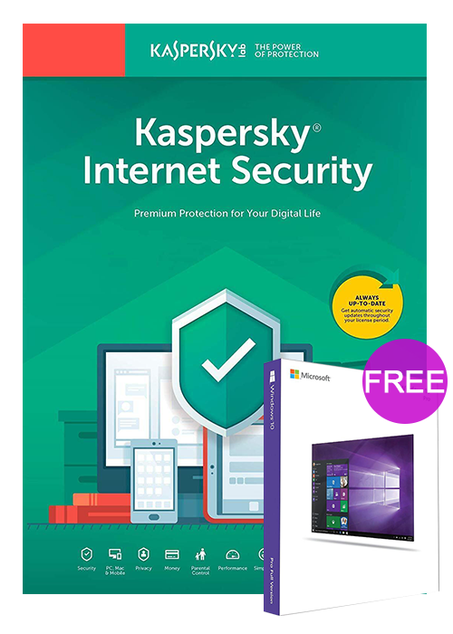 Kaspersky Internet Security 1 PC 1 Year Global Key(windows 10 pro oem free)