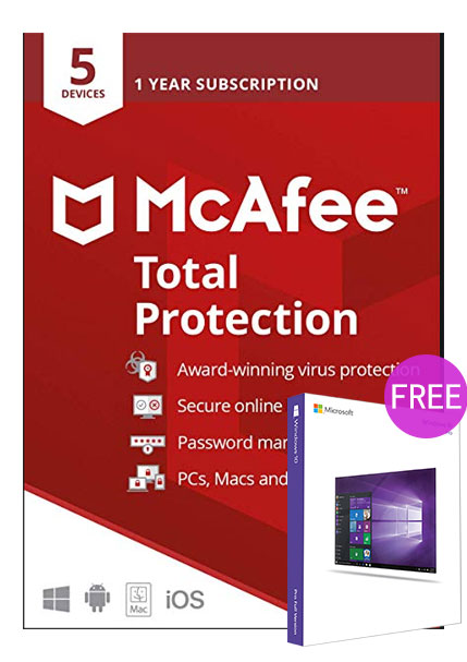 Mcafee Total Protection 5 Devices 1 Year Global(windows 10 pro oem free)