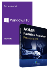 Official Windows10 PRO OEM+AOMEI Partition Assistant Professional + Free Lifetime Upgrades Key Global