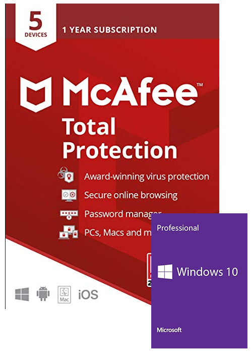 Mcafee Total Protection 5 Devices 1 Year Global+Windows 10 PRO OEM