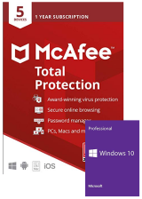 Official Mcafee Total Protection 5 Devices 1 Year Global+Windows 10 PRO OEM