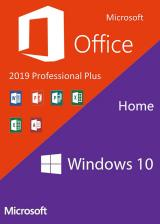 Official Windows10 Home OEM + Office2019 Professional Plus CD Keys Pack