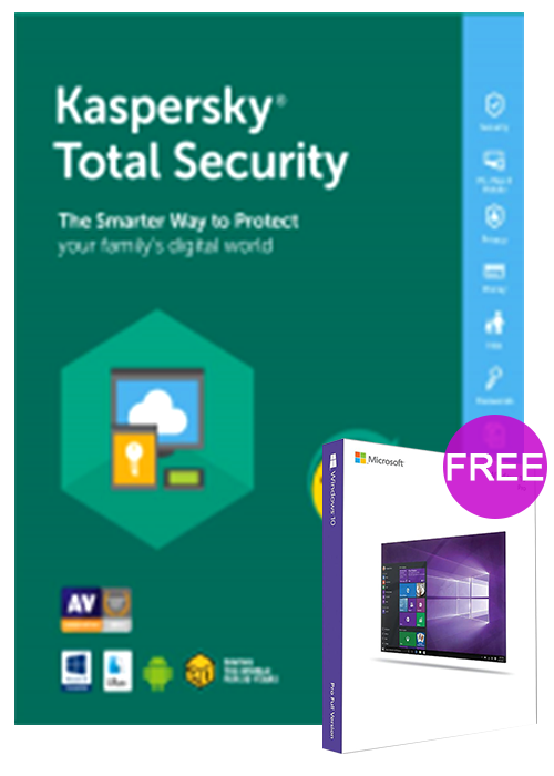 Kaspersky Total Security 1 PC 1 Year Key Global(windows 10 pro oem free)
