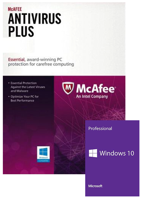 McAfee Antivirus 1 PC 1 YEAR Global+Windows 10 PRO OEM