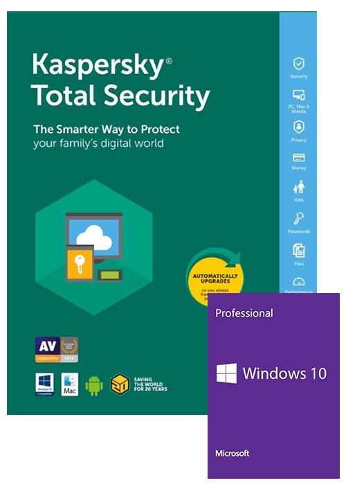 Windows 10 Pro OEM+Kaspersky Total Security 1 PC 1 Year Key Global